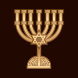 Menorah Israel candle. On dark brown background, logo, symbol, icon, graphic, vector Royalty Free Stock Photo