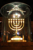 Menorah Jerusalem. Hanukka menorah light at night in jerusalem royalty free stock image