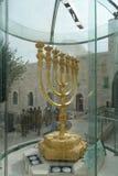 Menorah in Jerusalem. Huge golden menorah in the the old city of Jerusalem at the Western Wall during Hanukkah Stock Image