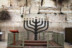 Menorah. Jewish hanukkah candle holder. Jewish hanukkah candle holder at the Western Wall. Menarah. Jerusalem. Israel Royalty Free Stock Images