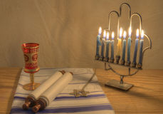 Menorah and Judaic Objects Royalty Free Stock Photography