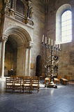 Menorah in Lund. The seven branched candelabrum from the fifteenth century in Lunds Cathedral Sweden royalty free stock images