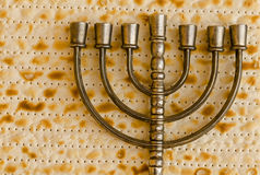 Menorah on Matzo Stock Photos