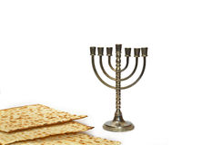 Menorah and Matzot. Menorah, the traditional Jewish candelabrum, and Matzot royalty free stock images