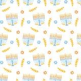 Menorah naadloos die patroon, op wit wordt geïsoleerd Joodse vakantie elegante achtergrond stock illustratie
