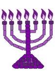Menorah púrpura - 7 Lampstand Imagenes de archivo