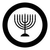 Menorah para el color del negro del icono de Jánuca en círculo
