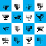 Menorah pattern. Menorah shape pattern in blue and white. 16 menorah shapes in one pattern Royalty Free Stock Images
