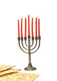 Menorah with red candles Stock Image