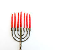 Menorah with red candles Royalty Free Stock Photography