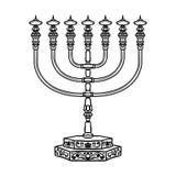 Menorah religieux juif de symbole sur le fond blanc illustration stock