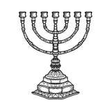 Menorah religieux juif de symbole sur le fond blanc illustration libre de droits