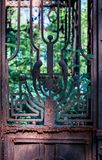 Menorah on rusty gate Stock Photography