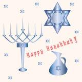 Menorah sette candele del segno blu della stella di Davide di Chanukah della luce di vettore felice del fondo Immagine Stock