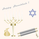 Menorah seven candles blue Star of David scroll pitcher  sign Happy Hanukkah light background  Royalty Free Stock Images