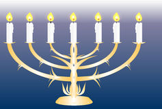 Menorah with seven lit candles Stock Image