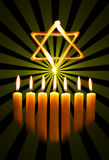 Menorah and star. Over the black background Stock Photos