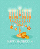 Menorah surrounded by fun and colorful dreidels, coins and presents Royalty Free Stock Photos