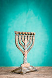 Menorah on table Royalty Free Stock Photo