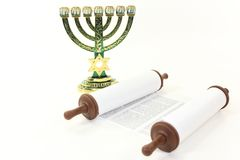 Menorah and Torah Stock Photography