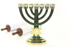 Menorah and Torah Royalty Free Stock Image
