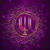 Menorah tradicional (candelabro) com efeito de brilho dourado ilustração royalty free