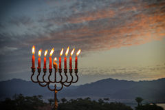 Menorah is traditional Jewish symbol for Hanukkah holiday Stock Images