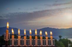 Menorah is traditional Jewish symbol for Hanukkah holiday Stock Photo