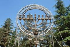 Menorat Hanukkah on Mount Herzl. Hill and National Cemetery in Jerusalem