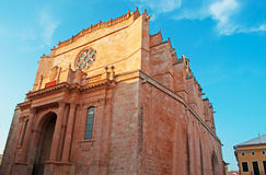 Menorca, Balearic Islands, Spain, cathedral, Ciutadella, skyline, catholicism, architecture, stone, Church of Saint Mary. The Cathedral Basilica of Ciutadella on royalty free stock photos