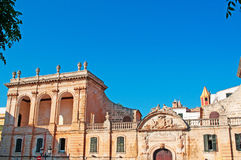 Menorca, Balearic Islands, Spain. Details of Torre Saura Palace in Ciutadella on July 7, 2013. Torre Saura Palace is one of the main places of touristic interest Stock Photography