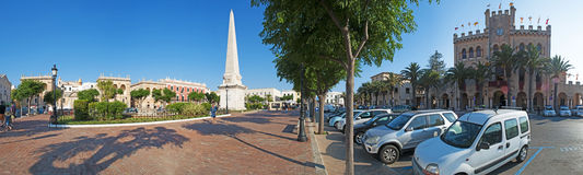 Menorca, Balearic Islands, Spain. Es Born Square, the obelisk and the iconic Town Hall in Ciutadella on July 7, 2013. The town Hall, former palace of the Arab Stock Photo