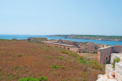 Menorca, Balearic Islands, Spain, fort, fortress, military, La Mola, Mahon, architecture, stone. The Fortress of Isabel II on July 11, 2013. The Fortress, or La Stock Photo