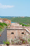 Menorca, Balearic Islands, Spain, fort, fortress, military, La Mola, Mahon, architecture, stone. The Fortress of Isabel II on July 11, 2013. The Fortress, or La Royalty Free Stock Images