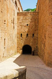 Menorca, Balearic Islands, Spain, fort, fortress, military, La Mola, Mahon, architecture, stone, underground, tunnel. The Fortress of Isabel II on July 11, 2013 Royalty Free Stock Photography