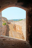 Menorca, Balearic Islands, Spain, fort, fortress, military, La Mola, Mahon, architecture, stone. The Fortress of Isabel II on July 11, 2013. The Fortress, or La Royalty Free Stock Photo