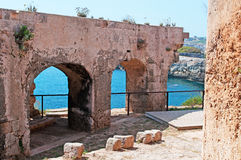 Menorca, Balearic Islands, Spain, La Mola, fortress, fort, Mahon, ruins. The Fortress of Isabel II on July 11, 2013. The Fortress, or La Mola Fort, is a military Stock Image