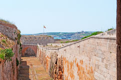 Menorca, Balearic Islands, Spain. The Fortress of Isabel II on July 11, 2013. The Fortress is a military complex located on the peninsula of La Mola Royalty Free Stock Images