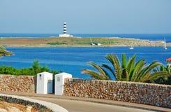 Menorca, Balearic Islands, Spain, lighthouse, isla de l`Aire, island, Mediterranean Sea, nature, landscape. Isla de l`Aire lighthouse on 14 July, 2013. Isla de l royalty free stock photography