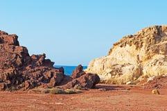 Menorca, Balearic Islands, Spain, Cala Pregonda, Mediterranean Sea, beach, martian, landscape, red, Mars royalty free stock photos