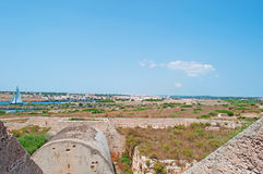 Menorca, Balearic Islands, Spain, Mahon, port, sailing, sailboat, nature, landscape. A sailboat in the port of Mahon seen from the Fortress of La Mola on July 11 Royalty Free Stock Photo