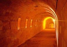 Menorca, Balearic Islands, Spain, fort, fortress, military, La Mola, Mahon, architecture, stone, underground, tunnel. Underground tunnel in the Fortress of Stock Images