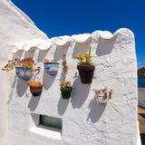 在拜雷阿尔斯的Menorca ES Grau白色房子花盆细节 免版税库存照片