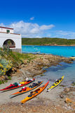 Menorca Es Grau kayak adventure in Balearic Islands Royalty Free Stock Photos