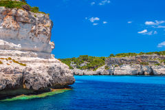 Menorca island cliff coast Royalty Free Stock Photos