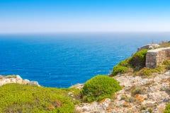 Menorca island cliff edge travel background Royalty Free Stock Image