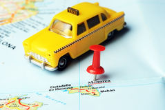 Menorca Island ,Spain map taxi Stock Images