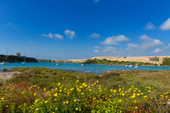 Menorca La Mola in Mahon with sailboats anchored Stock Image