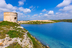 Menorca-La-Mola-Wachturmturm Cala Teulera in Mahon Stockbilder