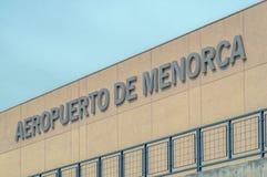 Menorca lotniska znak Zdjęcia Stock